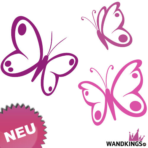 wandtattoo schmetterlinge butterfly 3 st ck w01 ebay. Black Bedroom Furniture Sets. Home Design Ideas