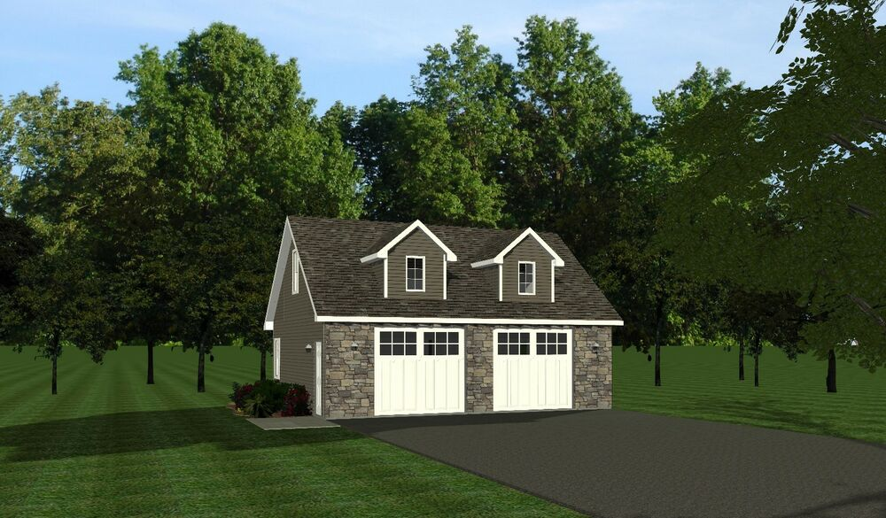2 car garage plans 30x24 w loft plan 720 sf 1032 ebay for Two car garage with loft