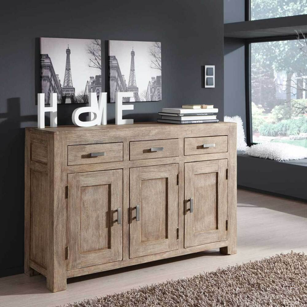 sideboard kommode guru 6629 akazie massiv stone von wolf m bel ebay. Black Bedroom Furniture Sets. Home Design Ideas