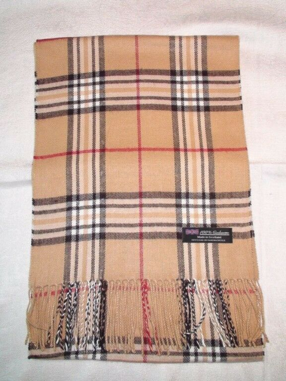 100% Cashmere Scarf Tan Red And Black Plaid Camel Z3