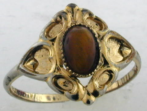 14k Ge Ring With Center Brown Stone Ebay