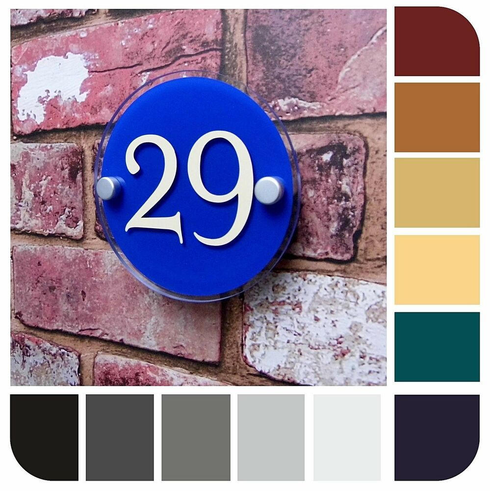 Modern Small House Sign Apartment Number Plaque Round Door