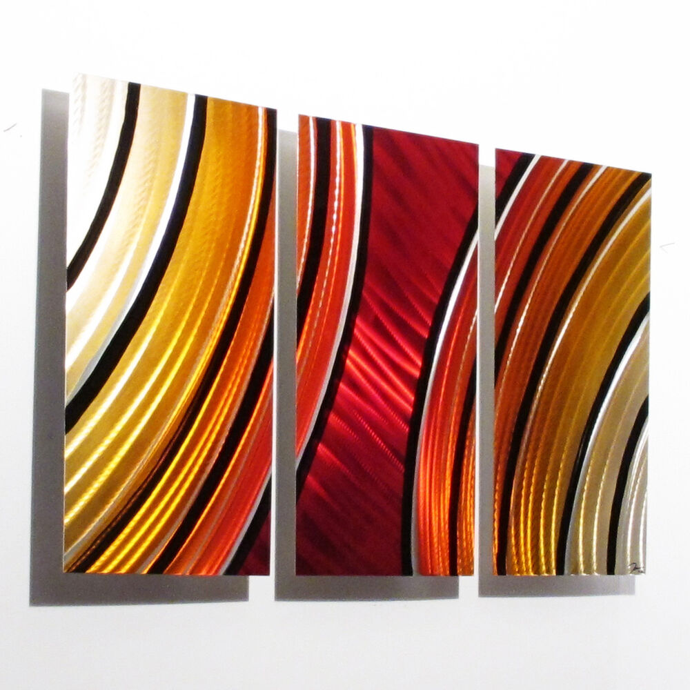 Large metal wall art panels painting red orange modern for Wall art panels