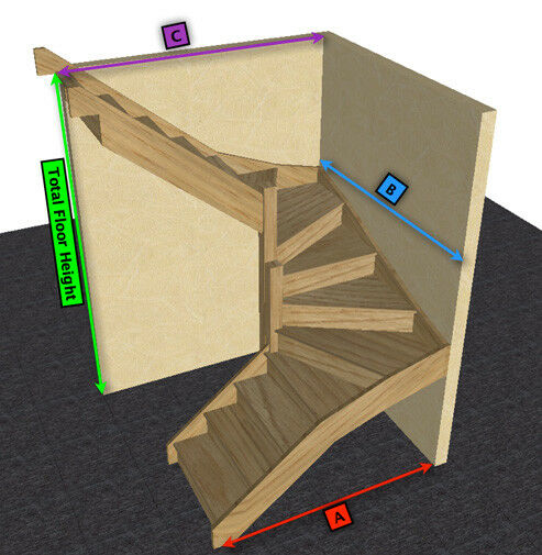 Oak staircase 6 kite winder stair ebay for Building winder stairs