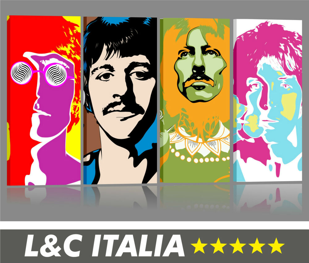 4 beatles quadro moderno 155x70 intelaiato stampa pop art for Arredamento pop art