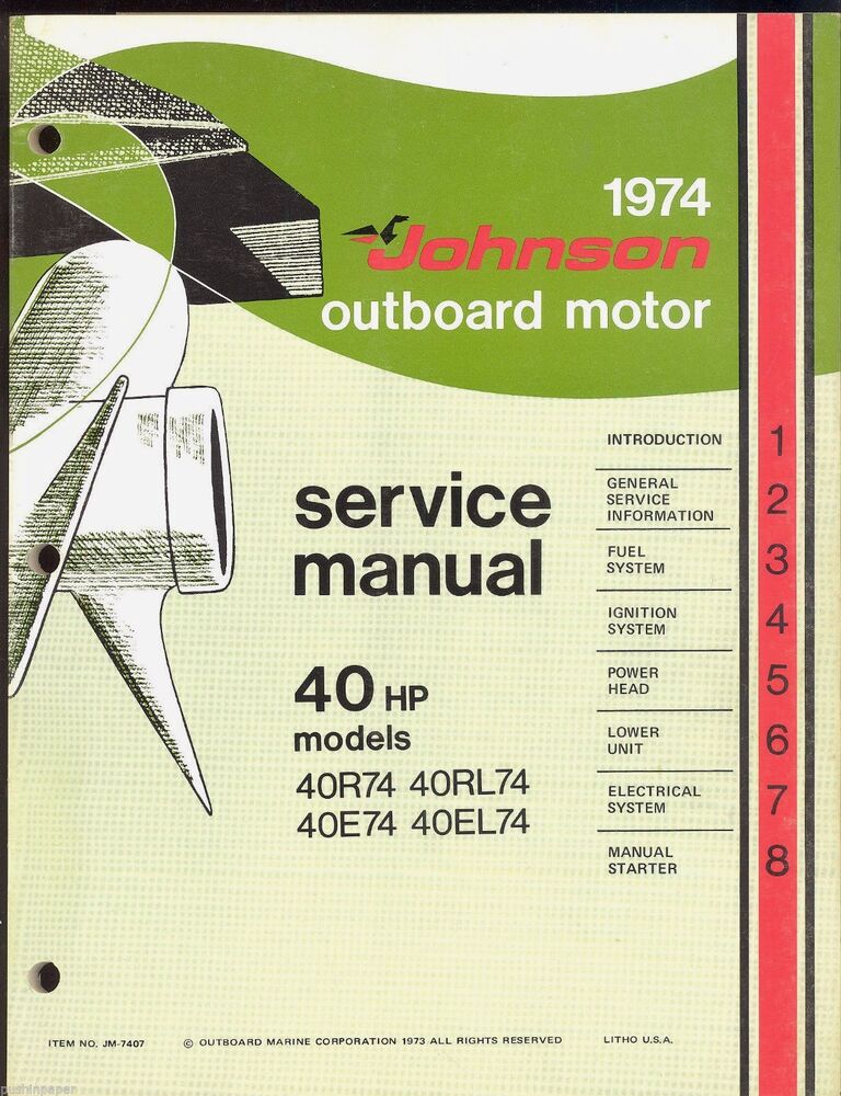 1974 johnson outboard motor 40 hp 40r74 40rl74 40e74 for How to service johnson outboard motor