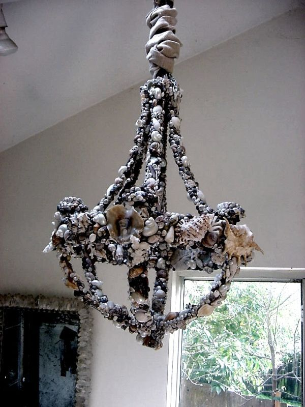 Shell And Coral Seashell Encrusted Grotto Chandelier Ebay