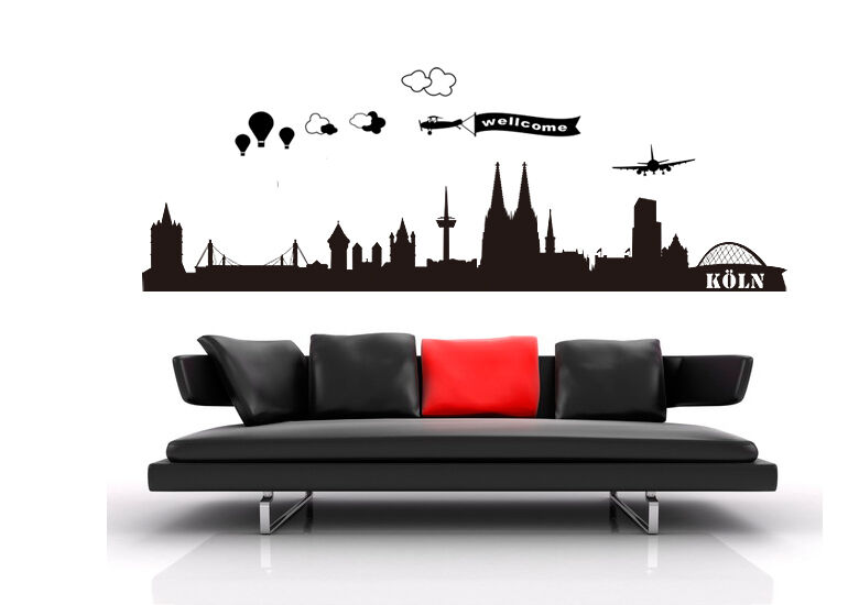 wandtattoo city stadt k ln skyline cologne 180x42 wst01 ebay. Black Bedroom Furniture Sets. Home Design Ideas