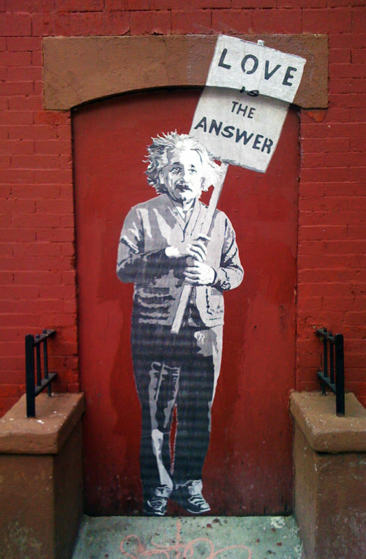 """The Answer Is The Five Guardians Of The Frink Lanterns Or: """"Love Is The Answer"""" Albert Einstein Graffiti Art"""