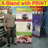 "24"" WIDE Trade Show X Banner Stand Pop Up Booth GRAPHIC Display + FREE PRINT"