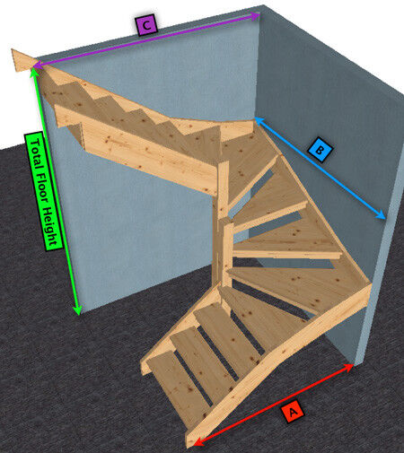 attic opening ideas - Pine open Staircase 6 kite Winder Stair