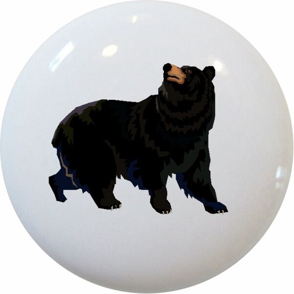 Black Bear Cabinet Dresser Drawer Pull Knob Ceramic Ebay