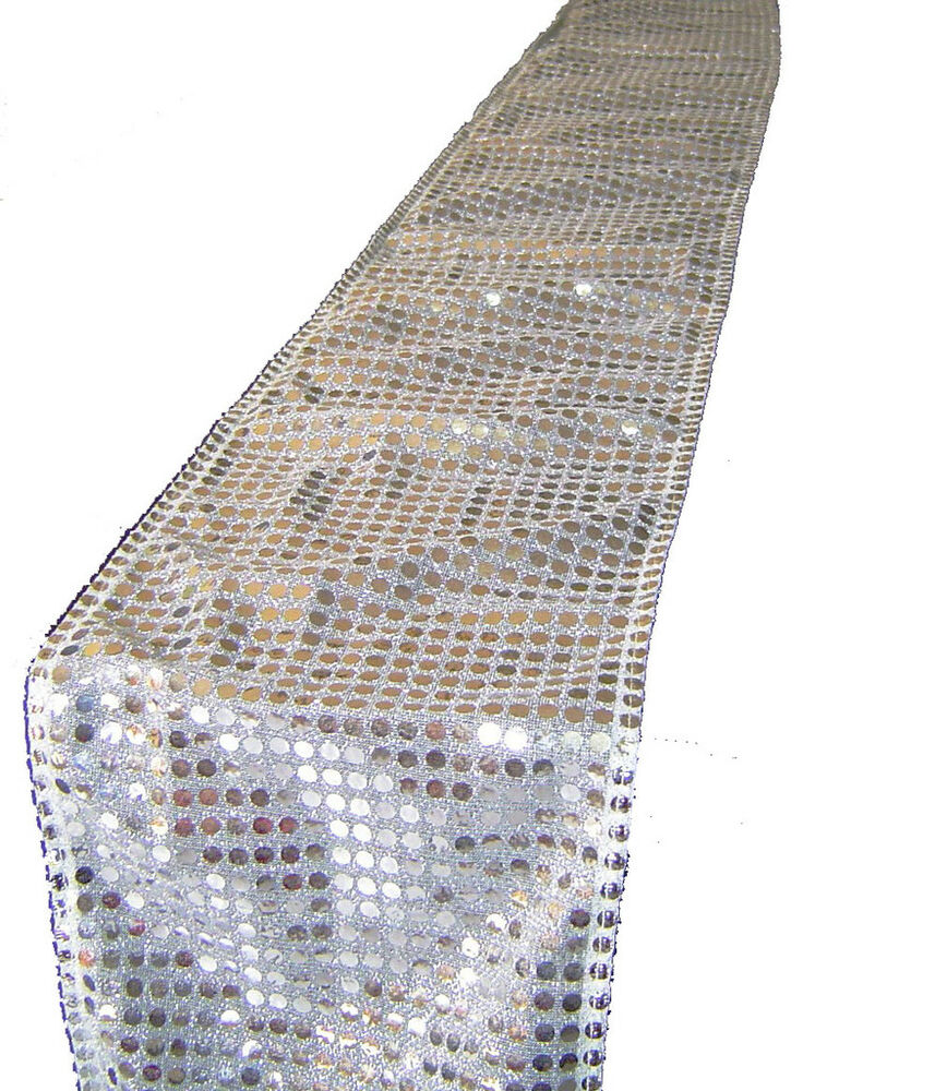 silver sequin chair sash or table runner event decorate ebay. Black Bedroom Furniture Sets. Home Design Ideas