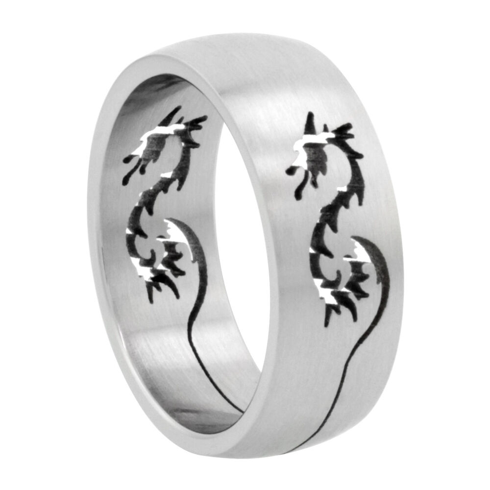 8mm Stainless Steel Dragon Cut-out Design Domed Wedding