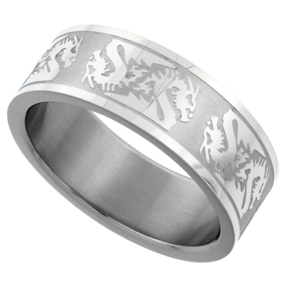 Wedding Band Stainless Steel 8mm: 8mm Stainless Steel Dragon Pattern Design Wedding Band