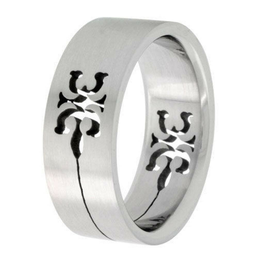 Wedding Band Stainless Steel 8mm: 8mm Stainless Steel Tribal Gecko Cut-Out Design Flat