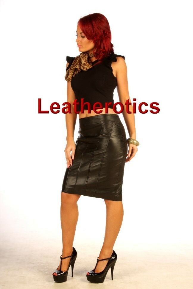 leather skirt pencil skirt tight fit black