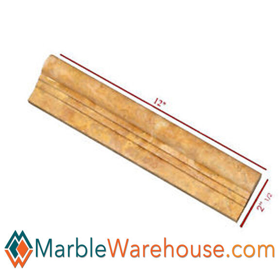 YELLOW TRAVERTINE CHAIR RAIL MOLDING For Wall- HONED