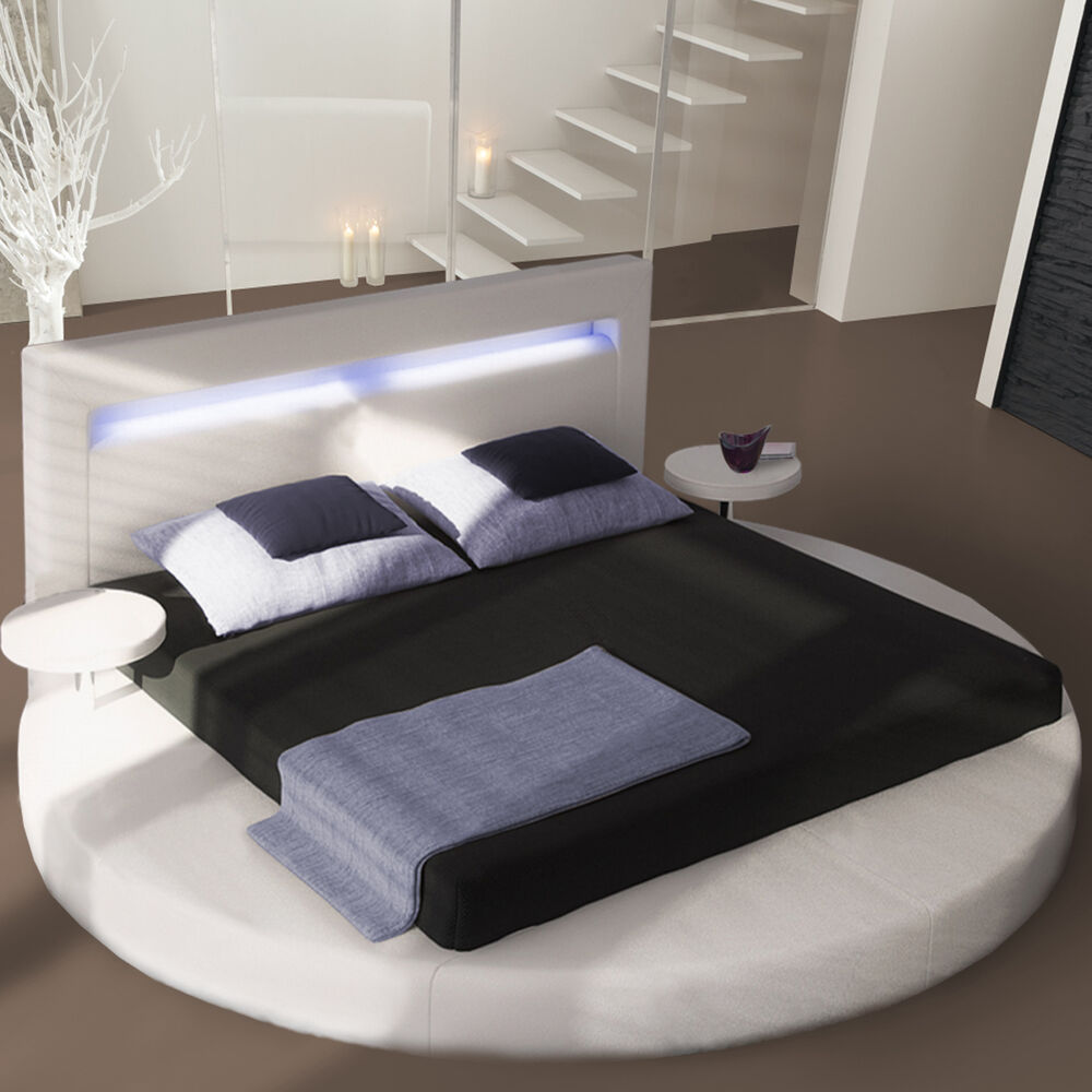 designer bett round schlafzimmer bett in wei inklusive beleuchtung 180x200 ebay. Black Bedroom Furniture Sets. Home Design Ideas