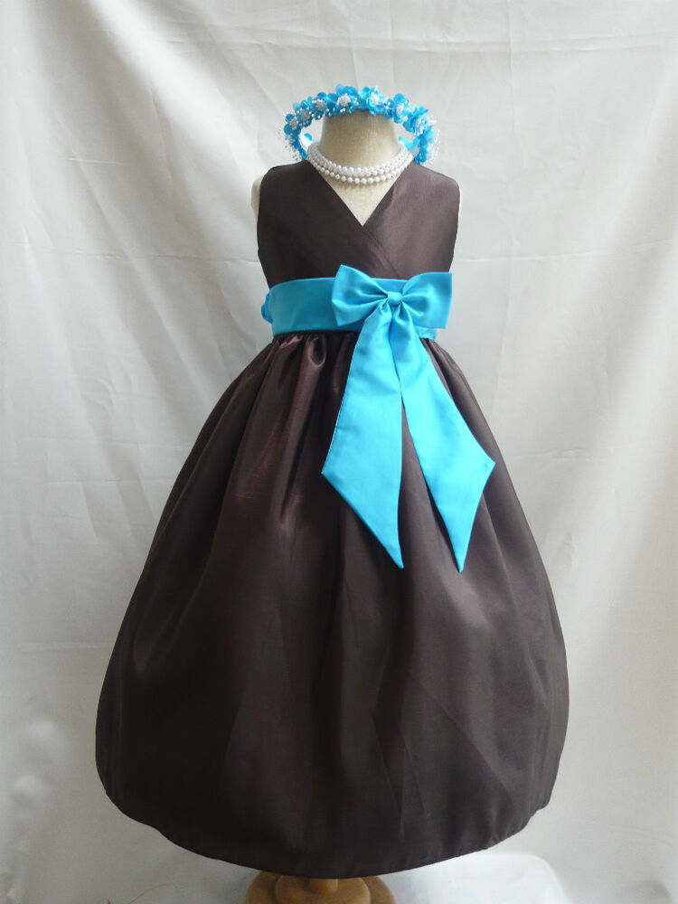 Brown turquoise wedding flower girl party dress 1 14 ebay for Brown dresses for a wedding