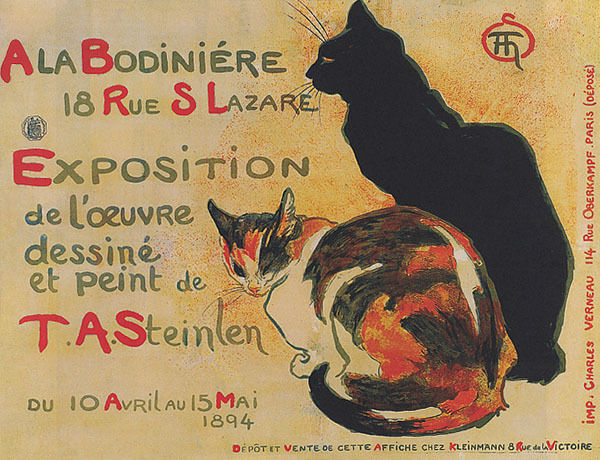 FRENCH TABBY BLACK CATS ALA BODINIERE EXPOSITION STEINLEN ...