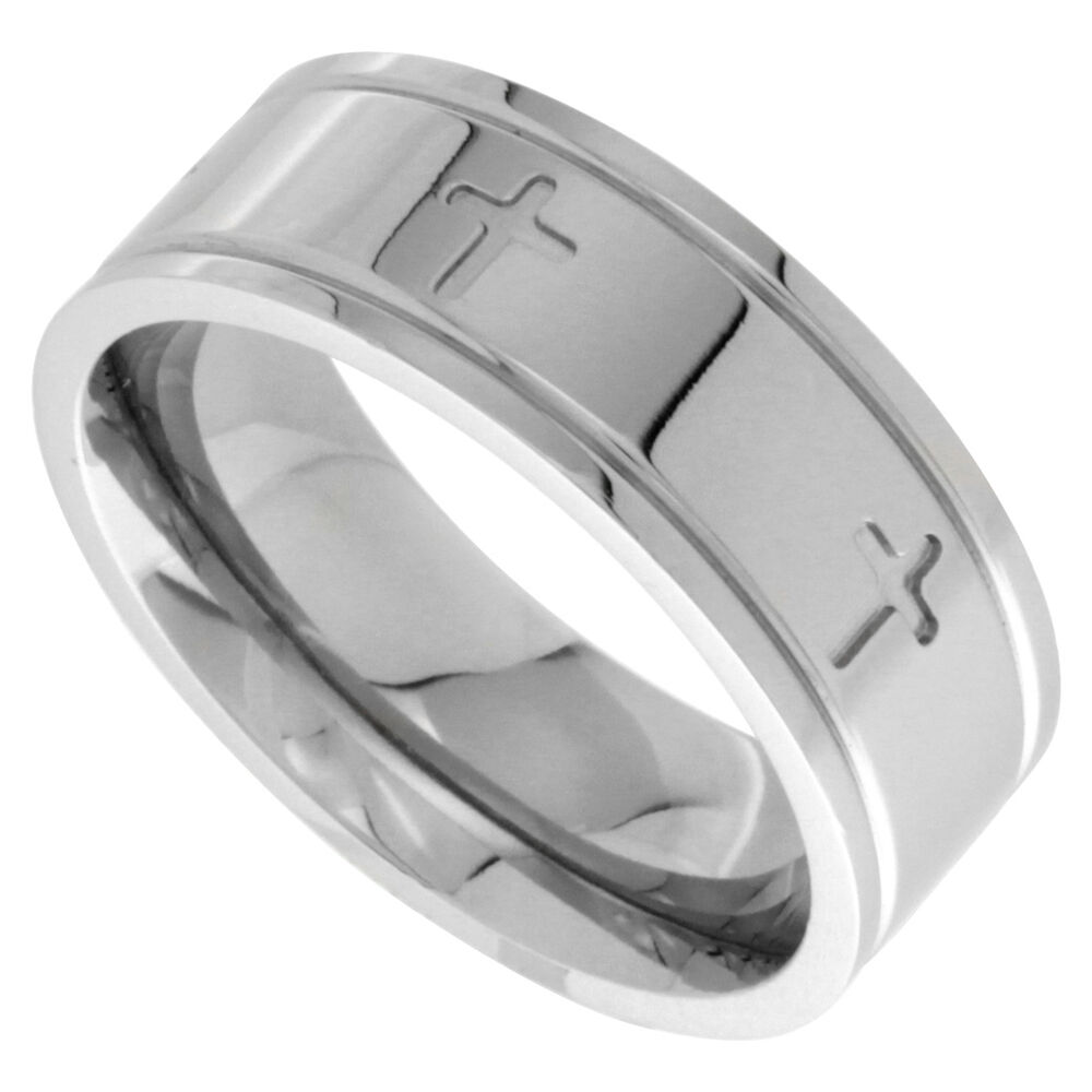 Stainless Steel Comfort Fit CROSS Wedding Band Ring