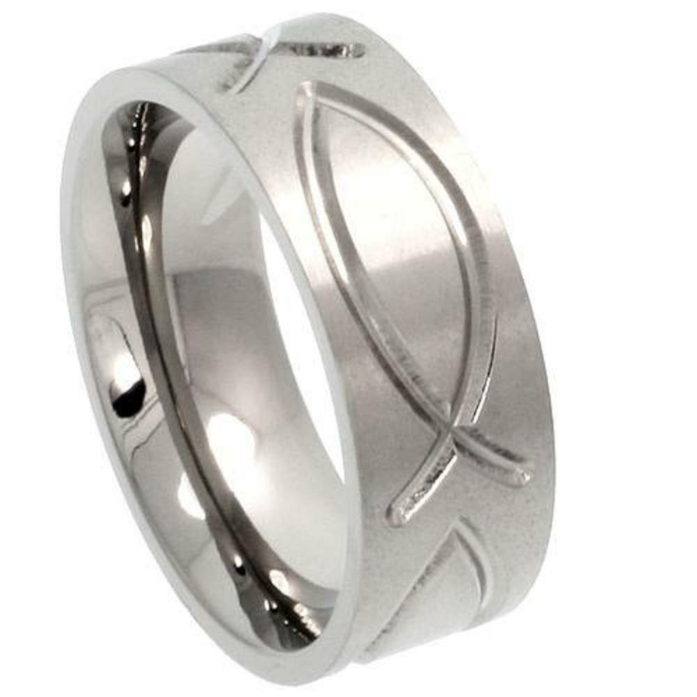 8mm titanium wedding band ring ichthys christian fish for Fishing wedding band