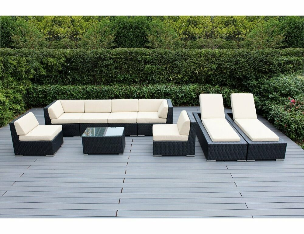 Outdoor patio wicker furniture 9pc sofa lounge set ebay for Lounge garden furniture sets