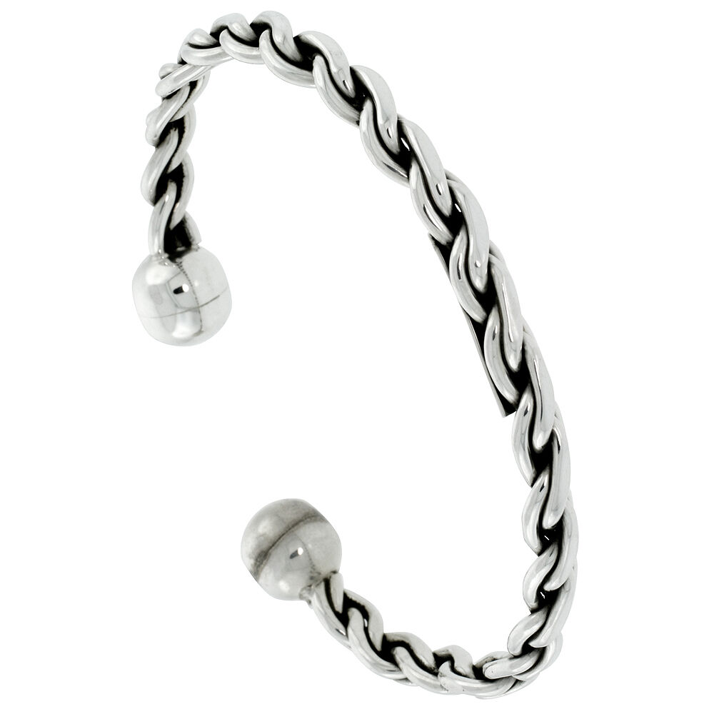 """7.25"""" Handmade Sterling Silver Rope Braded Wire Ball End"""