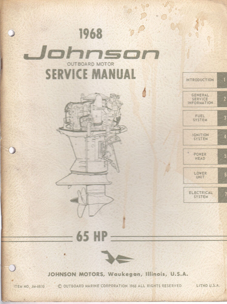 1968 johnson outboard motor 65hp service manual ebay