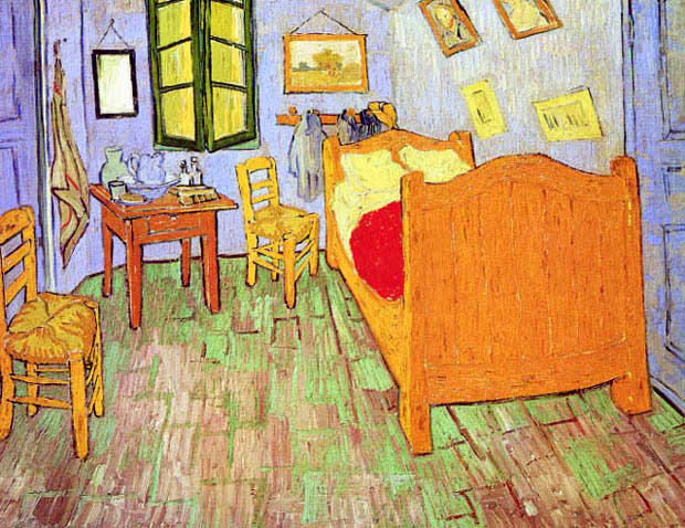 THE BEDROOM ARLES BED CHAIRS IMPRESSIONIST PAINTING BY