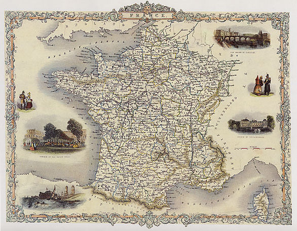 1800'S MAP FRANCE TOULOUSE FONTAINEBLEAU REPRO POSTER | eBay