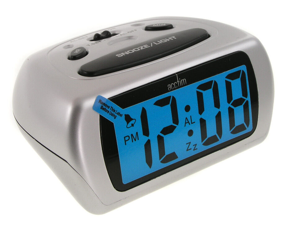 acctim silver auric alarm clock blue lcd lighted battery operated ebay. Black Bedroom Furniture Sets. Home Design Ideas