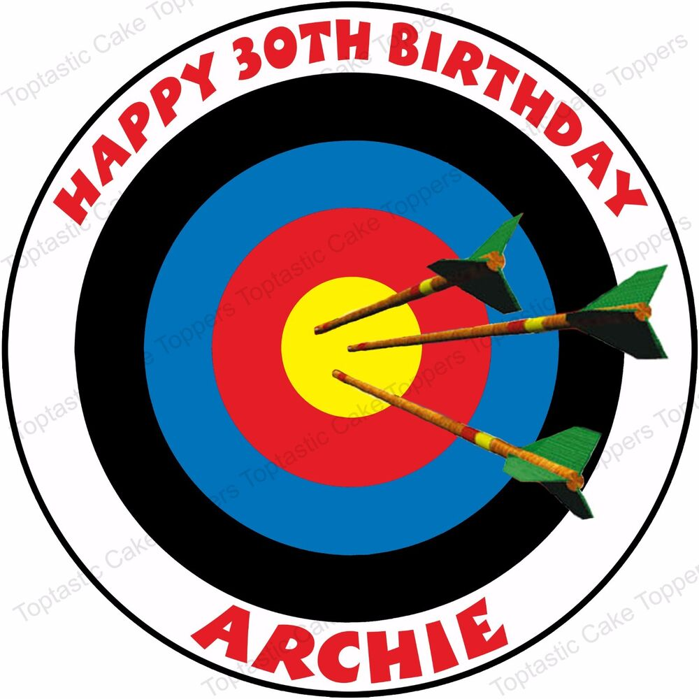 Personalised Archery Edible Icing Birthday Cake Topper