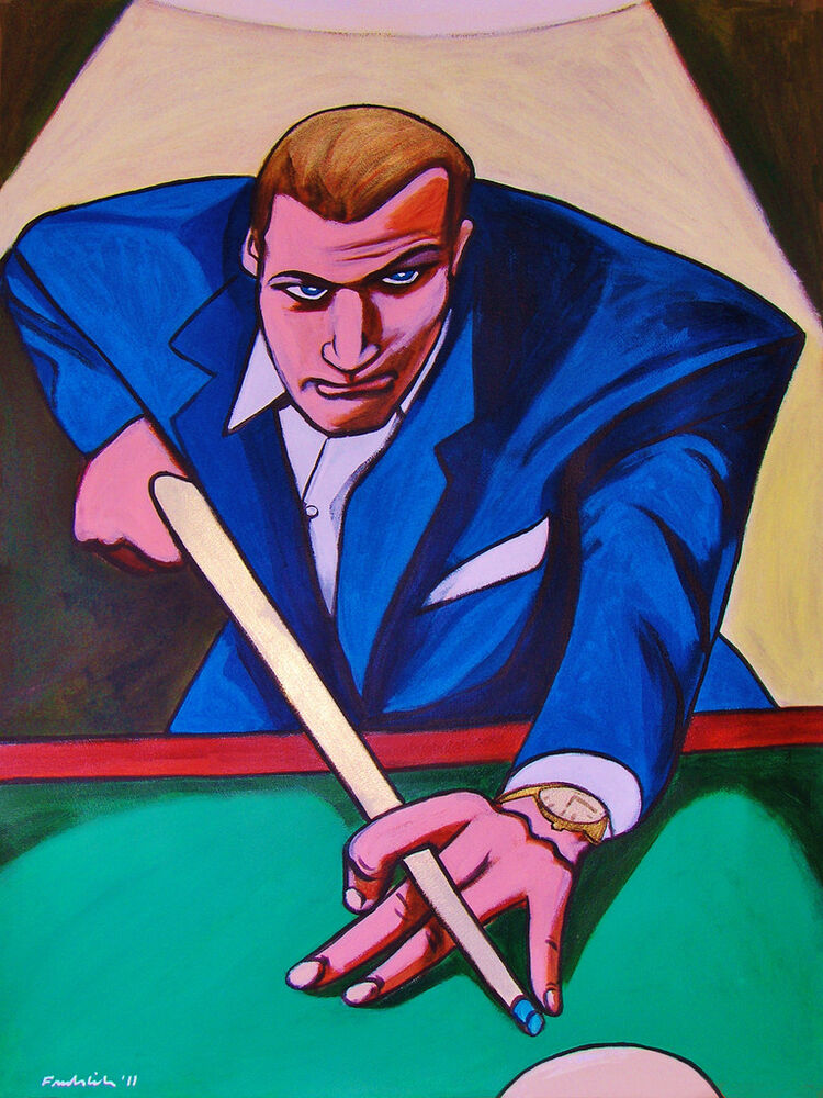 THE HUSTLER MOVIE PAINTING Paul Newman Pool Table Cue Stick Christmas
