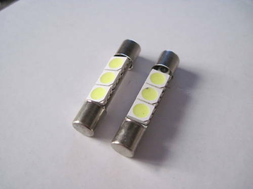 2pz lampadine 3 led micro siluro 31mm 6mm 5000k k65 ebay for Lampadine led 3 volt