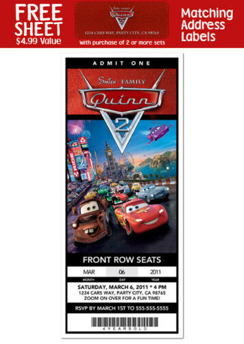 6 cars movie birthday party personalized ticket style