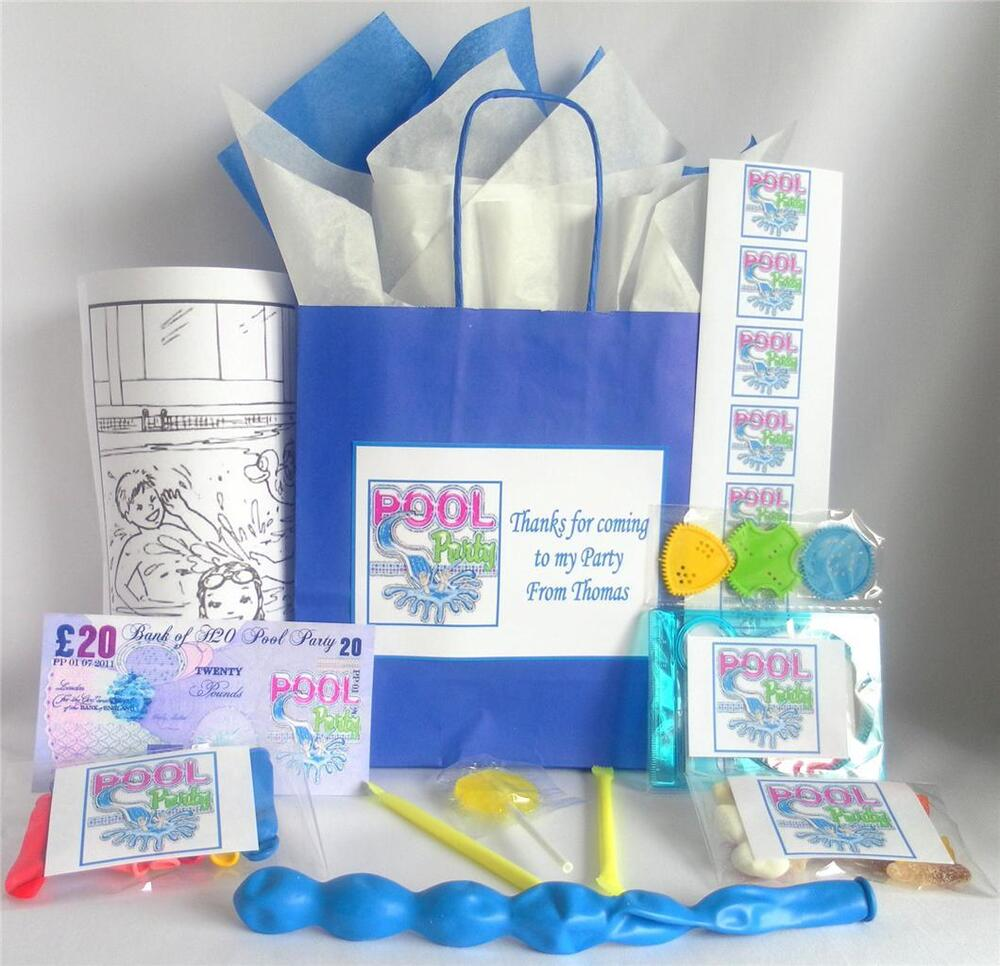 Swimming Pool Personalised Pre Filled Party Bag Blue Ebay