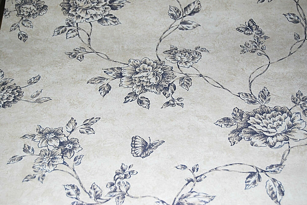 Solid vinyl black on beige westchester floral wallpaper for Solid vinyl wallcovering