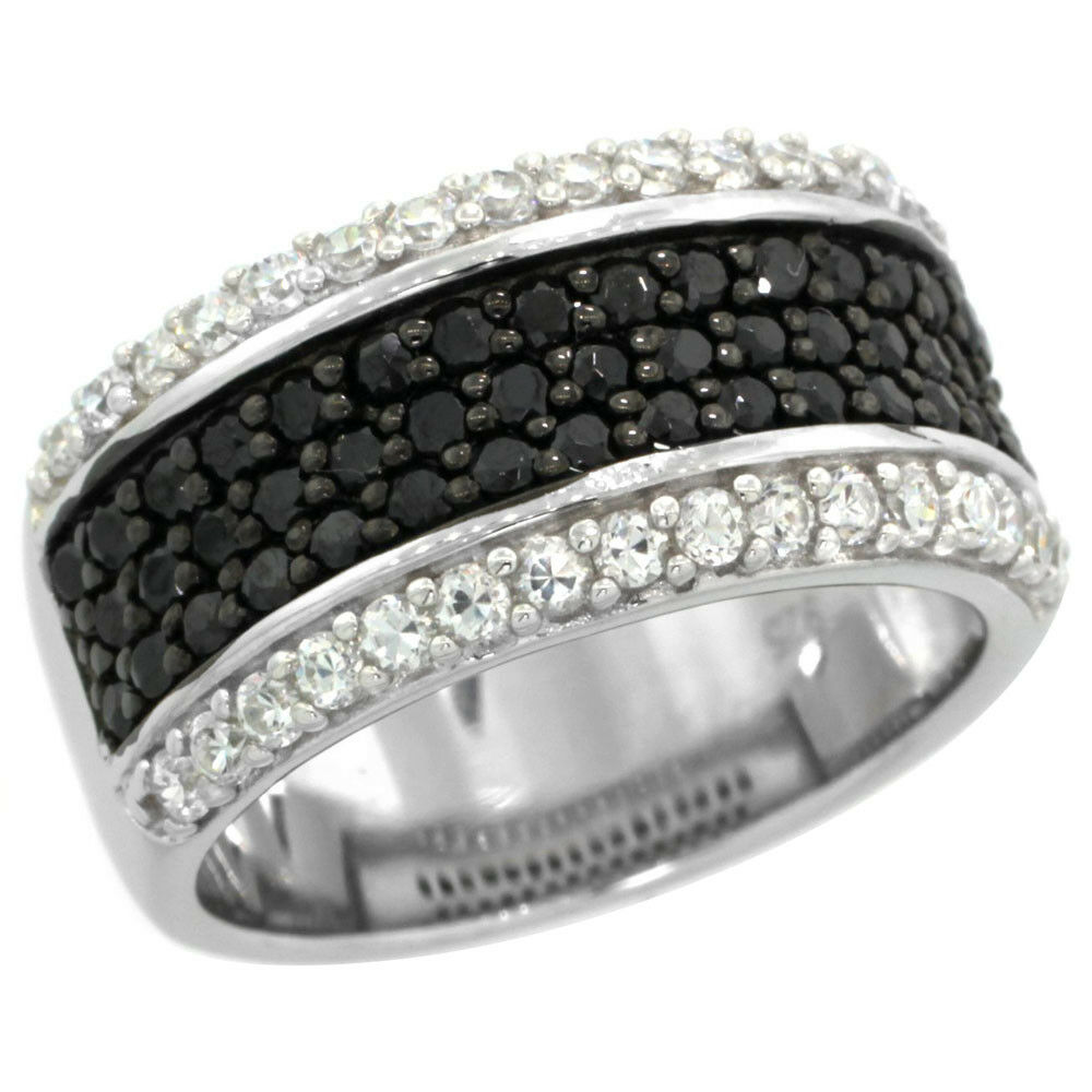 Sterling Silver Black And White Cubic Zirconia Band Ring