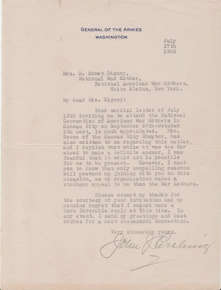 General John J Pershing Autographed Letter