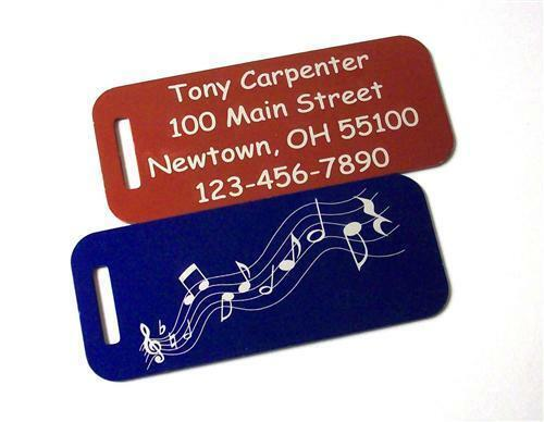 2 two engraved custom metal luggage tags personalized