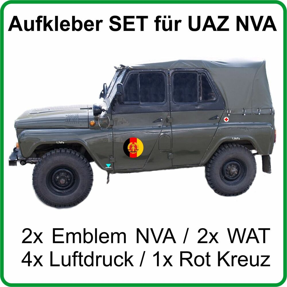 aufkleber set f r uaz uaz469 uaz469b mit emblem nva ddr ebay. Black Bedroom Furniture Sets. Home Design Ideas