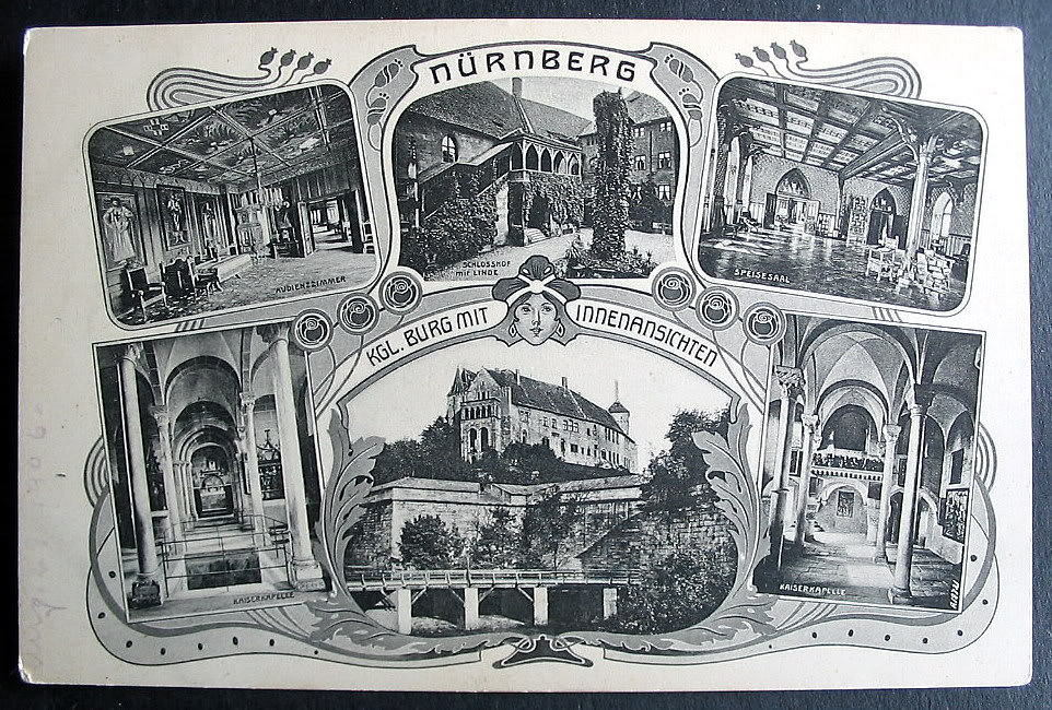 germany nurnberg 1900s art nouveau multiview postcard ebay. Black Bedroom Furniture Sets. Home Design Ideas