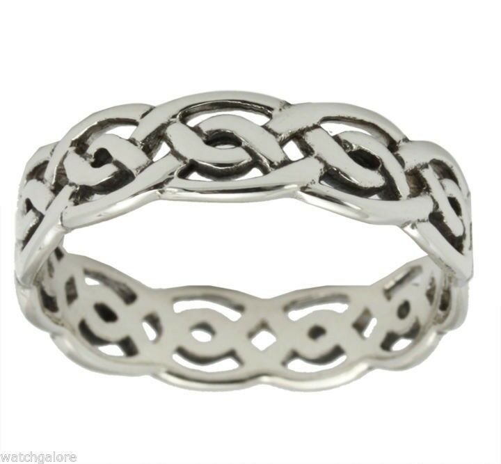 sterling silver gold irish celtic weave knot wedding ring band ebay