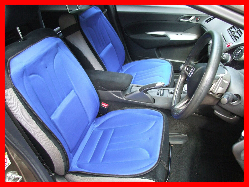 Car Seat Cover Cushion With Lumbar Support Pair BLUE