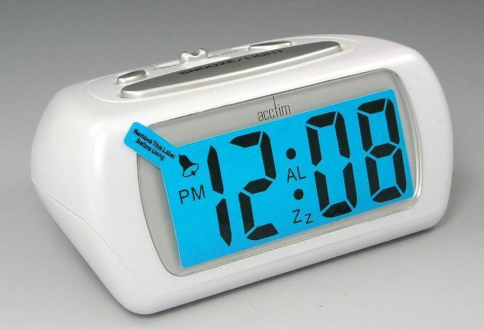 acctim white auric alarm clock blue lcd battery operated. Black Bedroom Furniture Sets. Home Design Ideas