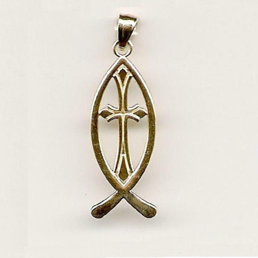 14k yellow gold christian fish with cross pendant charm for Christian fish necklace