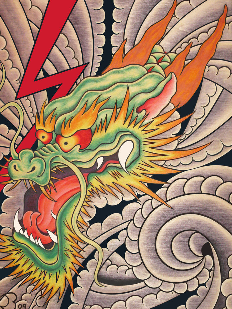 Japanese dragon art print 8x10 lightning clouds wind for Chinese clouds tattoos