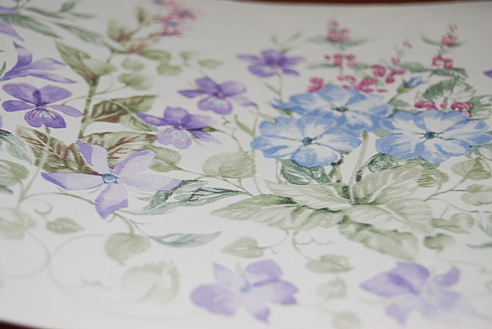 Pink, Blue and Purple Floral Wallpaper Border W1163 | eBay